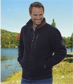 Men's Navy Fleece Jacket with Sherpa Lining