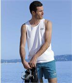 Pack of 3 Men's Sea Dream Vests - White Turquoise Blue preview3