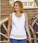 Pack of 2 Women's Pretty Vest Tops - Black White preview3