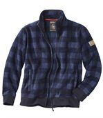 Men's Blue Checked Jacket - Fleece preview2