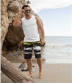 Pack of 3 Men's Sports Vests - White Black Tan preview2