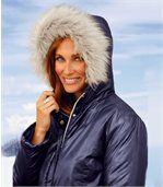 Women's Navy Padded Parka Coat preview3