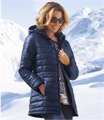 Wattierte Jacke Blue Navy mit Kapuze preview1