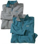 Pack of 2 Men's Microfleece Jumpers - Grey Blue preview1