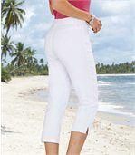 Biele strečové trojštvrťové nohavice preview2