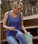 Pack of 2 Women's Summer Vest Tops - Blue Ecru preview2