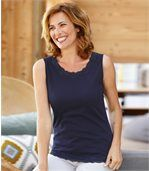 Pack of 2 Women's Vest Tops - Blue Ecru preview2