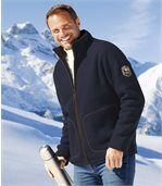 Men's Blue Winter Time Fleece Jacket with Sherpa Lining preview1