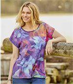 Kleurrijk T-shirt van 2 materialen