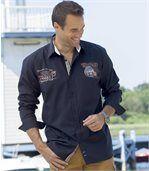 Popelínová košeľa vo farbe námornícka modrá preview1