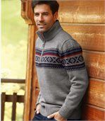 Żakardowy sweter z trykotu preview2