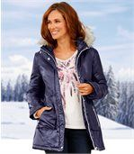 Women's Navy Padded Parka Coat preview2