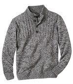 Men's Grey Knit Funnel Neck Jumper preview2