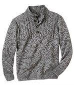 Gebreide trui met knopenkraag