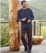 Men's Blue Patterned Cotton Pyjamas