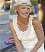 Pack of 2 Women's Summer Vest Tops - Blue Ecru preview3