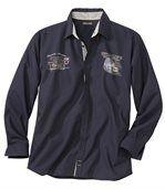 Popelínová košeľa vo farbe námornícka modrá preview2