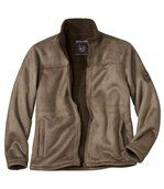 Men's Beige Faux Suede Jacket with Sherpa Lining preview2