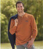 Pack of 2 Men's Button-Neck Tops - Orange Cream