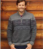 Men's Grey Winter Jumper with Nordic Pattern preview1