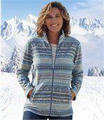Veste Polaire Femme - Bleu Ecru - à motifs Jacquard preview1