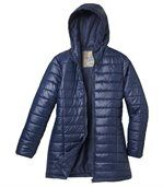Wattierte Jacke Blue Navy mit Kapuze preview3