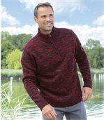 Dunkelrot melierter Pullover mit RV-Stehkragen preview1