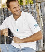 Pack of 2 Men's Laniakea Beach T-Shirts - White Turquoise preview2