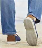 Men's Blue Dual Material Summer Moccasins