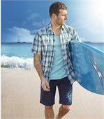 Men's Navy Cargo Beach Swim Shorts