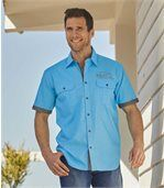 Men's Turquoise Pilot-Style Shirt preview3