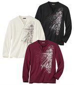 Sada 3 triček s grafickým potiskem a límcem na knoflíky preview1