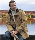 Men's Brown Multi-Pocket Parka Coat preview1