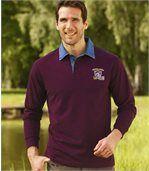 Men's Burgundy Polo Shirt with Denim Collar preview1