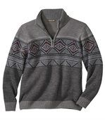 Men's Grey Winter Jumper with Nordic Pattern preview2