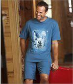Piżama z szortami z nadrukiem niedźwiedzia polarnego preview3