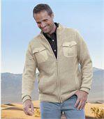 Pletený béžový svetr na zip preview1