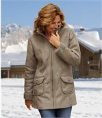 Women's Brown Faux Suede Coat with Sherpa Lining - Three-Quater Length