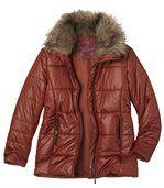 Prešívaná bunda s golierom z umelej kožušiny