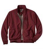 Men's Burgundy Microfibre Zip Up Jacket