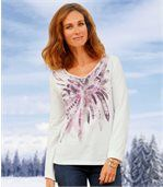 Women's Long Sleeve Top - Feather Motif preview1