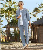 Splývavé nohavice z ľahkej džínsoviny preview2