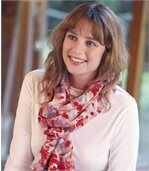 Women's Pink Floral Voile Scarf