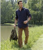 Men's Brown Stretch Corduroy Cargo Trousers preview3