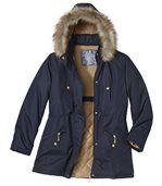 Zimná bunda s kapucňou a kožušinou