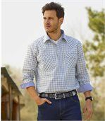 Men's Montana Checked Poplin Shirt - Blue White Khaki preview1