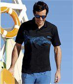 2er-Pack Poloshirts mit trendigem Aufdruck preview2