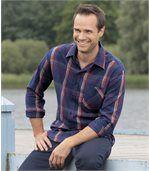 Men's Checked Poplin Shirt - Blue Burgundy Beige preview1