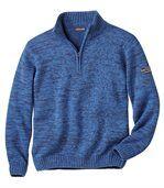 Blau melierter Pullover mit Strehkragen preview2
