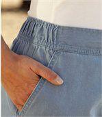 Splývavé kalhoty z lehkého denimového plátna preview3